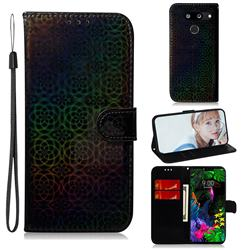 Laser Circle Shining Leather Wallet Phone Case for LG G8 ThinQ - Black