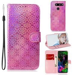Laser Circle Shining Leather Wallet Phone Case for LG G8 ThinQ - Pink