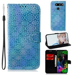 Laser Circle Shining Leather Wallet Phone Case for LG G8 ThinQ - Blue