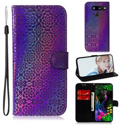 Laser Circle Shining Leather Wallet Phone Case for LG G8 ThinQ (G8s ThinQ) - Purple