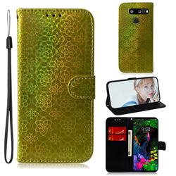 Laser Circle Shining Leather Wallet Phone Case for LG G8 ThinQ - Golden