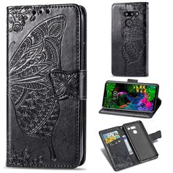 Embossing Mandala Flower Butterfly Leather Wallet Case for LG G8 ThinQ (G8s ThinQ) - Black