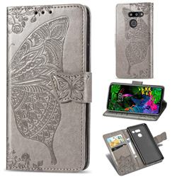 Embossing Mandala Flower Butterfly Leather Wallet Case for LG G8 ThinQ - Gray