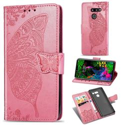 Embossing Mandala Flower Butterfly Leather Wallet Case for LG G8 ThinQ - Pink