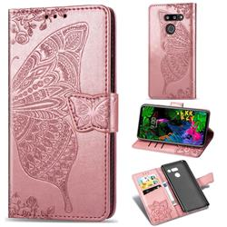 Embossing Mandala Flower Butterfly Leather Wallet Case for LG G8 ThinQ (G8s ThinQ) - Rose Gold