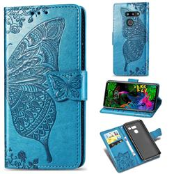 Embossing Mandala Flower Butterfly Leather Wallet Case for LG G8 ThinQ - Blue