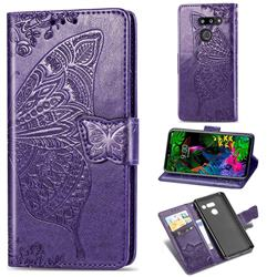 Embossing Mandala Flower Butterfly Leather Wallet Case for LG G8 ThinQ - Dark Purple