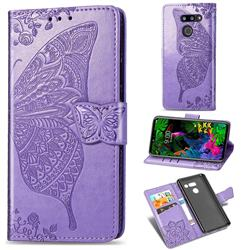 Embossing Mandala Flower Butterfly Leather Wallet Case for LG G8 ThinQ - Light Purple
