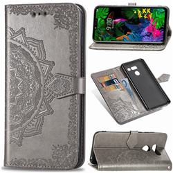Embossing Imprint Mandala Flower Leather Wallet Case for LG G8 ThinQ - Gray