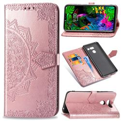 Embossing Imprint Mandala Flower Leather Wallet Case for LG G8 ThinQ - Rose Gold