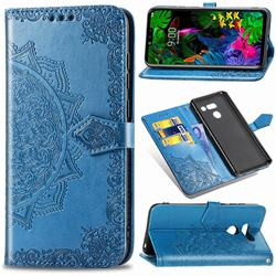 Embossing Imprint Mandala Flower Leather Wallet Case for LG G8 ThinQ (G8s ThinQ) - Blue