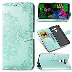 Embossing Imprint Mandala Flower Leather Wallet Case for LG G8 ThinQ - Green