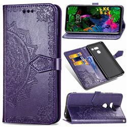 Embossing Imprint Mandala Flower Leather Wallet Case for LG G8 ThinQ - Purple