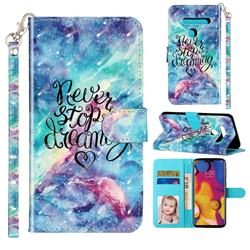 Blue Starry Sky 3D Leather Phone Holster Wallet Case for LG G8 ThinQ