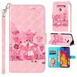 Pink Bear 3D Leather Phone Holster Wallet Case for LG G8 ThinQ