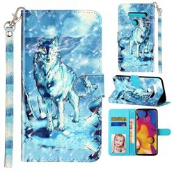 Snow Wolf 3D Leather Phone Holster Wallet Case for LG G8 ThinQ