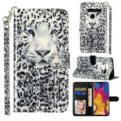 White Leopard 3D Leather Phone Holster Wallet Case for LG G8 ThinQ