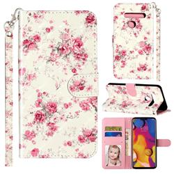Rambler Rose Flower 3D Leather Phone Holster Wallet Case for LG G8 ThinQ