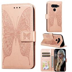 Intricate Embossing Vivid Butterfly Leather Wallet Case for LG G8 ThinQ - Rose Gold