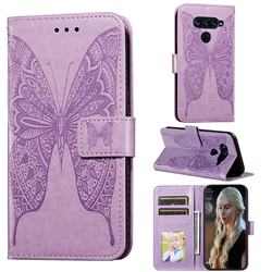 Intricate Embossing Vivid Butterfly Leather Wallet Case for LG G8 ThinQ - Purple