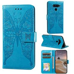Intricate Embossing Rose Flower Butterfly Leather Wallet Case for LG G8 ThinQ - Blue