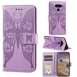 Intricate Embossing Rose Flower Butterfly Leather Wallet Case for LG G8 ThinQ - Purple
