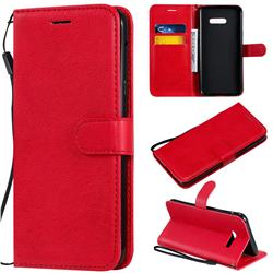 Retro Greek Classic Smooth PU Leather Wallet Phone Case for LG G8X ThinQ - Red