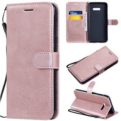 Retro Greek Classic Smooth PU Leather Wallet Phone Case for LG G8X ThinQ - Rose Gold