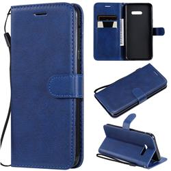 Retro Greek Classic Smooth PU Leather Wallet Phone Case for LG G8X ThinQ - Blue