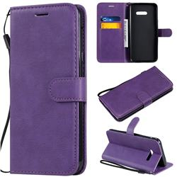 Retro Greek Classic Smooth PU Leather Wallet Phone Case for LG G8X ThinQ - Purple