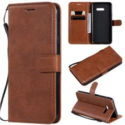 Retro Greek Classic Smooth PU Leather Wallet Phone Case for LG G8X ThinQ - Brown