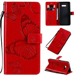 Embossing 3D Butterfly Leather Wallet Case for LG G8X ThinQ - Red