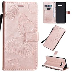 Embossing 3D Butterfly Leather Wallet Case for LG G8X ThinQ - Rose Gold