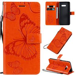 Embossing 3D Butterfly Leather Wallet Case for LG G8X ThinQ - Orange