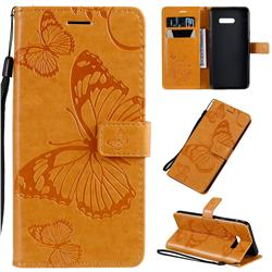 Embossing 3D Butterfly Leather Wallet Case for LG G8X ThinQ - Yellow
