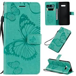Embossing 3D Butterfly Leather Wallet Case for LG G8X ThinQ - Green