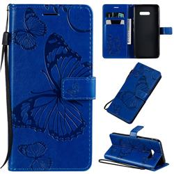 Embossing 3D Butterfly Leather Wallet Case for LG G8X ThinQ - Blue