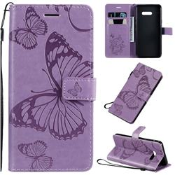 Embossing 3D Butterfly Leather Wallet Case for LG G8X ThinQ - Purple