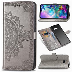 Embossing Imprint Mandala Flower Leather Wallet Case for LG G8X ThinQ - Gray