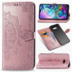 Embossing Imprint Mandala Flower Leather Wallet Case for LG G8X ThinQ - Rose Gold