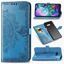 Embossing Imprint Mandala Flower Leather Wallet Case for LG G8X ThinQ - Blue