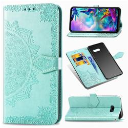 Embossing Imprint Mandala Flower Leather Wallet Case for LG G8X ThinQ - Green