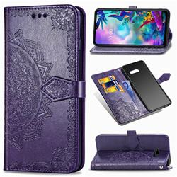 Embossing Imprint Mandala Flower Leather Wallet Case for LG G8X ThinQ - Purple