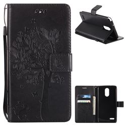 Embossing Butterfly Tree Leather Wallet Case for LG Stylo 3 Plus / Stylus 3 Plus - Black