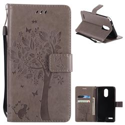 Embossing Butterfly Tree Leather Wallet Case for LG Stylo 3 Plus / Stylus 3 Plus - Grey