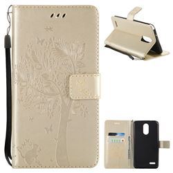 Embossing Butterfly Tree Leather Wallet Case for LG Stylo 3 Plus / Stylus 3 Plus - Champagne