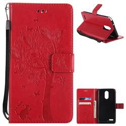 Embossing Butterfly Tree Leather Wallet Case for LG Stylo 3 Plus / Stylus 3 Plus - Red