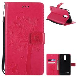 Embossing Butterfly Tree Leather Wallet Case for LG Stylo 3 Plus / Stylus 3 Plus - Rose