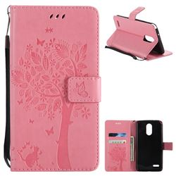Embossing Butterfly Tree Leather Wallet Case for LG Stylo 3 Plus / Stylus 3 Plus - Pink
