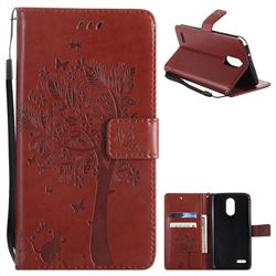Embossing Butterfly Tree Leather Wallet Case for LG Stylo 3 Plus / Stylus 3 Plus - Brown